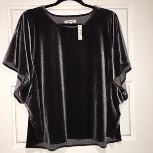 Madewell butterfly velvet top. Grey size 3x NWT